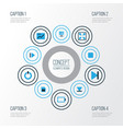 music colorful icons set collection of bottom vector image vector image