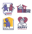 nursing home for retired people set banners vector image