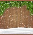 pine tree branch snowdrift on a wooden background vector image vector image