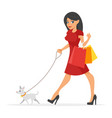 pretty woman with her dog vector image vector image