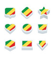 republic of the congo flags icons and button set vector image vector image
