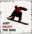retro poster snowboarder flying just enjoy the vector image