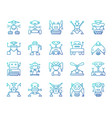 robot simple color line icons set vector image vector image