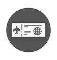 round icon airplane ticket cartoon vector image vector image