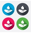 Save water sign Hand holds water drop symbol vector image vector image
