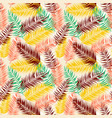 seamless color palm leaves pattern flat style vector image vector image