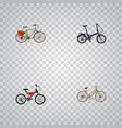set of bike realistic symbols with woman cycle vector image vector image