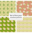 Set of four pear seamless patterns vector image vector image