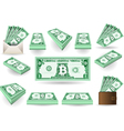 Set of One Bitcoins Banknotes vector image vector image