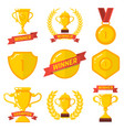 set of winner emblems in flat style design vector image
