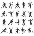 set stick figures of football players vector image vector image