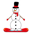 snowman on snowboard vector image