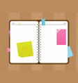 Top view open diary with stickers and a paper clip vector image