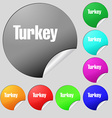 Turkey icon sign Set of eight multi colored round vector image vector image