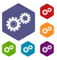 two gears icons set hexagon vector image vector image