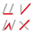 U V W X letters vector image