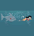 woman escaping from a shark vector image