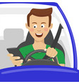 young man using his smartphone behind the wheel vector image vector image