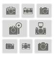 monochrome icons with photo camera symbols vector image