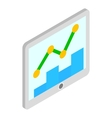 Tablet with graph and chart icon isometric 3d vector image