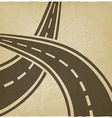 crossed roads old background vector image