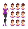 girl emotions set vector image