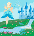 a fairy castle and a carriage vector image