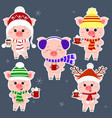 a set of five stickers of pigs in different hats vector image