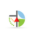 arrow of the navigator indicates the location vector image vector image