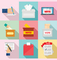 ballot voting box vote icons set flat style vector image vector image