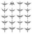 big set of winged swords for emblem sign logo vector image vector image