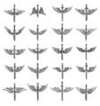 big set of winged swords for emblem sign logo vector image