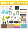 Build kit 3 office furniture vector image vector image