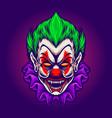 clown head joker vampire horror vector image
