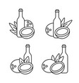 coconut water milk or butter icon set bottle vector image vector image