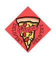 color vintage pizza delivery emblem vector image