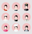 Colorful Female profession App Icons Set in Trendy vector image vector image