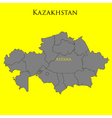 Contour map of Kazakhstan on a yellow vector image vector image