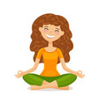 cute girl doing yoga relaxation meditation vector image vector image