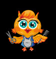 cute owl cartoon character hairdresser vector image vector image
