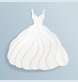 elegant paper silhouette of white wedding dress vector image vector image