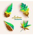 Fall season triangle leaves composition icon set vector image