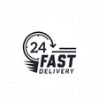 fast delivery 24 hour in black color vector image vector image