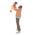 father holds daughter man playing with kid vector image