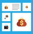 flat icon billfold set of purse saving payment vector image vector image