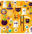 Flat Orange Halloween Trick or Treat Objects vector image