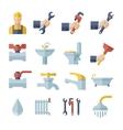 flat plumbing icons set vector image