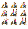 flat set with loving couple and scooter vector image vector image
