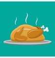Fried chicken or turkey isolated on green vector image