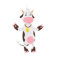 funny cow cartoon character happy cow vector image vector image